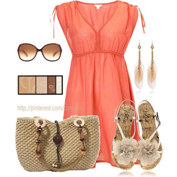 """""""Straw Bag & Beach Kaftan"""" by casuality on Polyvore"""