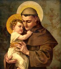 Saint Anthony of Padua, Doctor of the Church, pray for us and against barrenness, and animals, lost articles, mariners, expectant mothers, faith in the Blessed Sacrament. Feast day June 13.