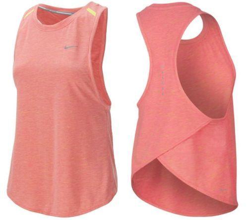 Nike Running Tank XL Womens Tailwind Neon Slub Top Orange Sunburst NWT