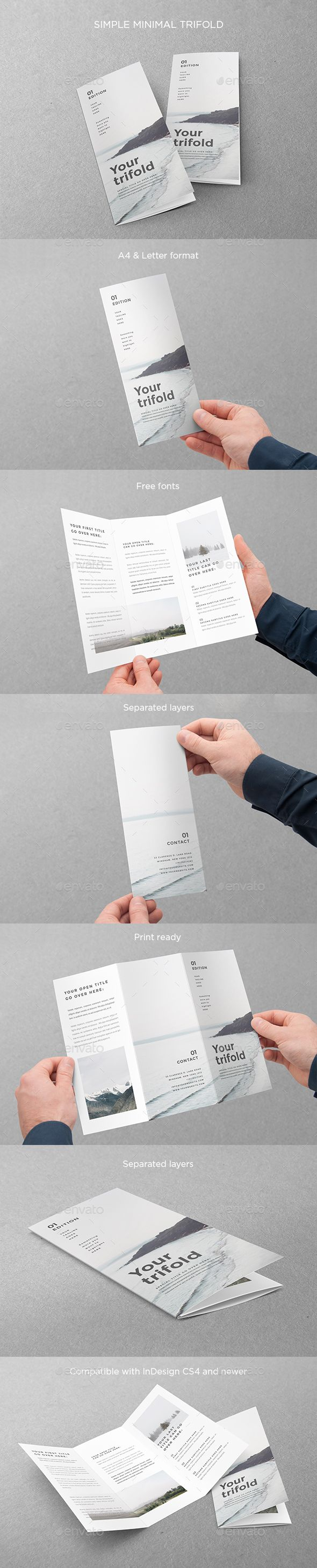 Simple Minimal Trifold Brochure Template InDesign INDD. Download here: https://graphicriver.net/item/simple-minimal-trifold/17604343?ref=ksioks