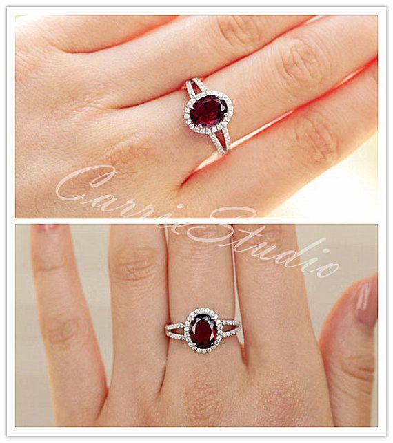 Natural Garnet Ring Garnet Engagement Ring/ Wedding Ring ...