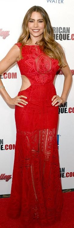 Who made Sofía Vergara's red cut out gown?