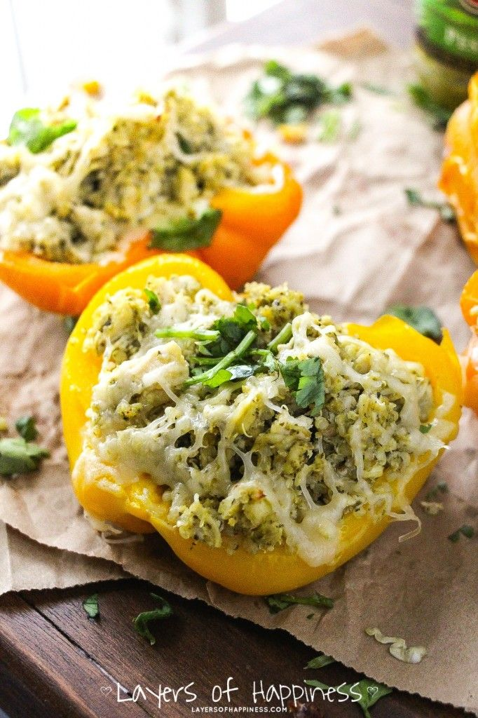 Charred bell peppers, shredded chicken, herb pesto, cooked quinoa, and melty cheese. A quick and easy 5-ingredient weeknight dinner – it's packed with flavor and it's healthy, too! Are you ready for this? A five ingredient , YES, five ingredient, quick, easy, delicious dinner. School is right around the corner and we are all about …