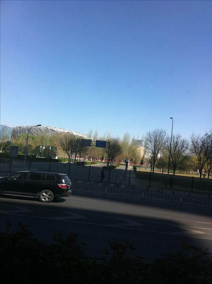 Vy från bussen-Olympiaparken.