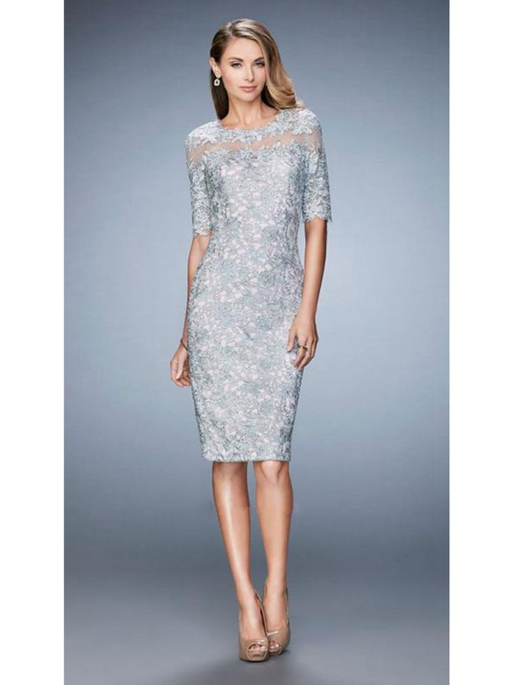 elegant short silver lace mother of the bride dresses 1603005