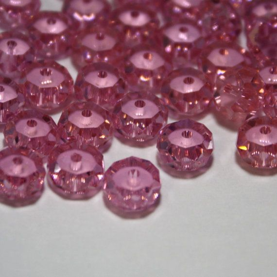 6 Cubic Zirconia Faceted Rondelle Beads in Pink by ThisPurplePoppy