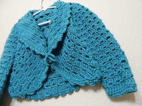 Bolero Croche Infantil manga - Crochet Bolero very easy - Ganchillo Bolero - YouTube