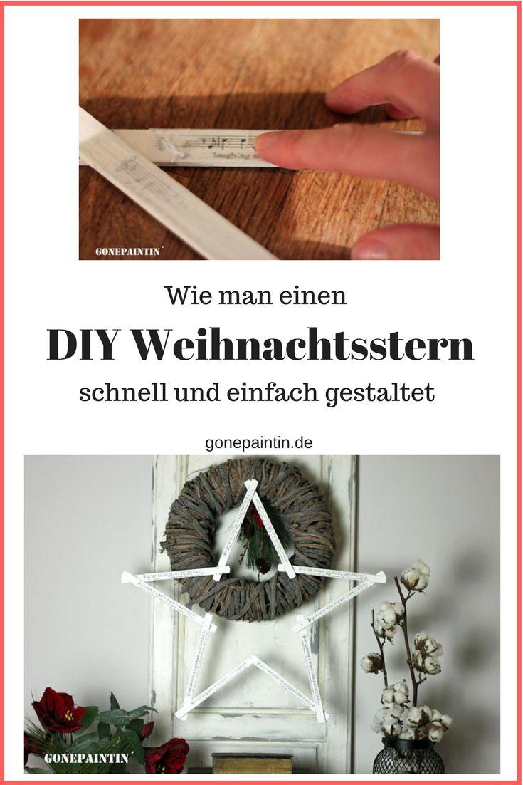 Eine Anleitung zur Gestaltung eines Weihnachtssterns mit Hausmitteln! Shabby chic Stern mit Bildern. Ich erkläre die Transfermethode!