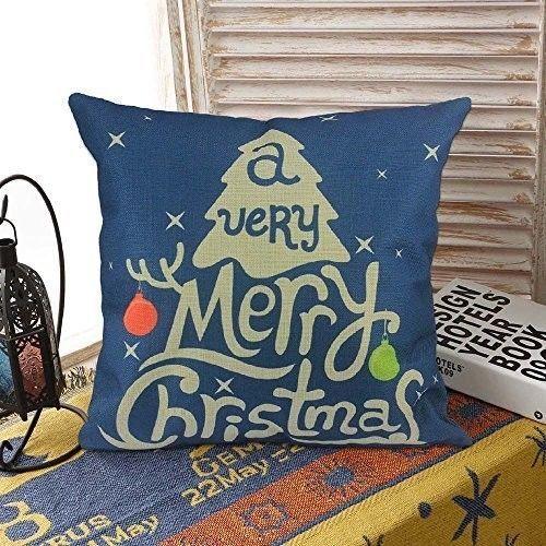 """Christmas Cushion Cover 18"""" Lovely Cotton Linen Phrase Design Xmas Case Blue #easy_shopping08"""