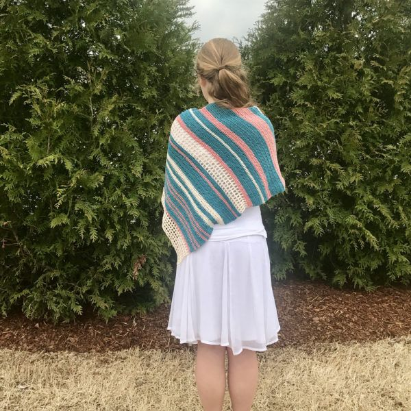 Vintage Summer Shawl crochet pattern in recycled cotton yarn by Little Monkeys Design and Twice Sheared yarn - Lagoon, Canyon Clay, and Ecru.