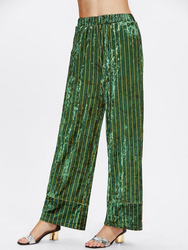 Pj Style Striped Velvet Palazzo Pants -SheIn(Sheinside)