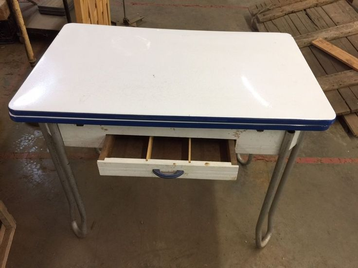 Offered for sale is an Antique Metal and Porcelain Hoosier Table . This was found in an old West Georgia farm house we dismantled. A few minor blemishes but overall good Vintage Condition. Take a look at the photos and ask me any questions. Easy pick up from our warehouse located at 2631 Gold Mine Rd Dallas Georgia 30157. See our other listings for more unique items. 404 457-6131   eBay!