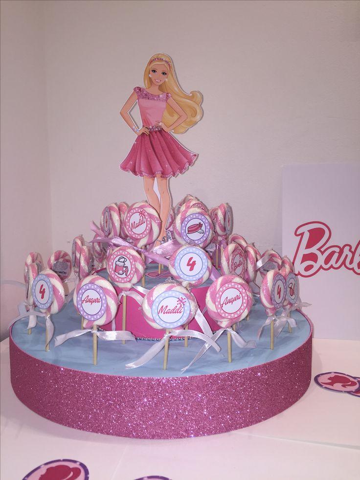 Torta porta lecca lecca - regalini di fine festa a tema Barbie