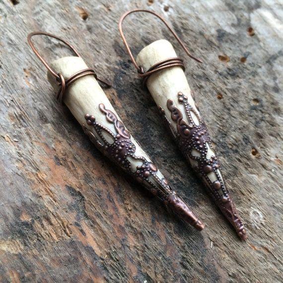 Filigraan Antler oorbellen echte herten gewei sieraden Dangle Earrings rustieke sieraden Daniellerosebean Drop Oorbellen