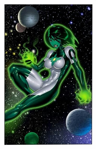 DC's Green Lantern Jade. Jade (Jennifer-Lynn Hayden) is the daughter of the Green Lantern (Alan Scott) and Thorn (Rose Canton). Jade's twin brother is Obsidian (Todd James Rice). Jade is a founding member of Infinity, Inc.....has worked with the Justice League and the Justice Society of America. She is also a member and leader of the Outsiders. After being given a power ring (a spare one), she joined the Green Lantern Corps. and was the first female Green Lantern from Earth.