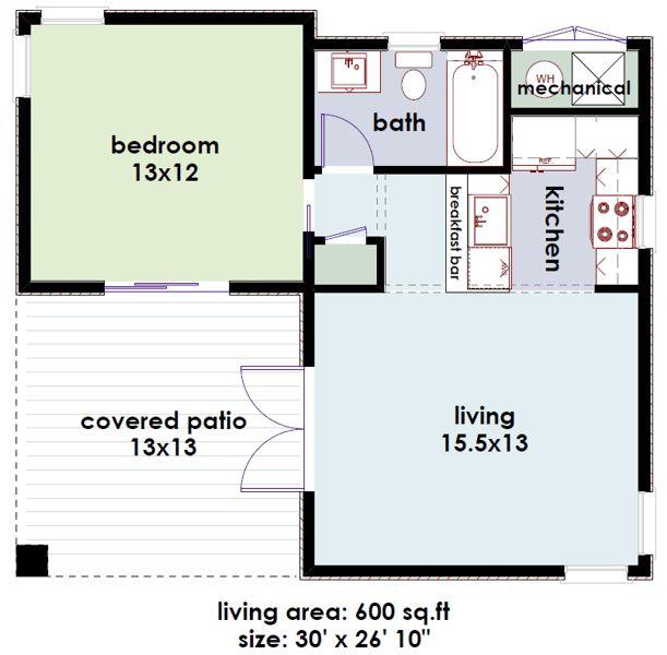Casa Moderna Y Pequena De 1 Dormitorio 55 M2 2 Guest House PlansTiny