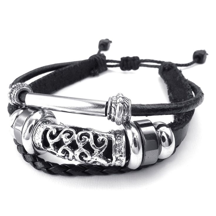 * Penny Deals * - TEMEGO Jewelry Mens Leather Braided Bracelet, Vintage Charm Cuff, Fits 7-9 Inch, Black ** Click on the image for additional details.
