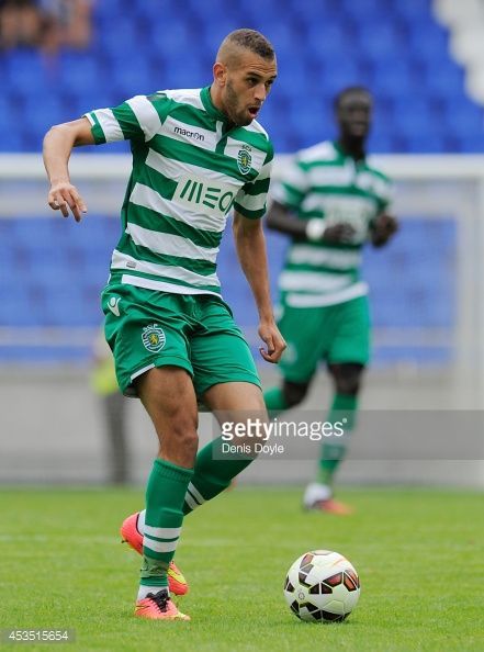 Islam Slimani of Sporting Clube de Portugal in action during the Teresa Herrera Trophy match between Sporting Clube de Portugal and Club Nacional de Football at estadio Municipal de Riazor on August...