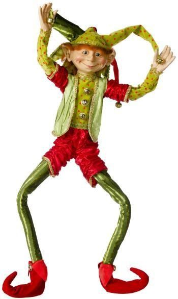 Shelley B Home and Holiday - Christmas Elf 30 inches Rascal with Jester Hat, $85.00 (http://shelleybhomeandholiday.com/christmas-elf-30-inches-rascal-with-jester-hat/)
