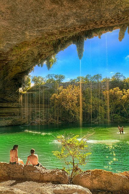 The lagoon - Hamilton Pool, Texas. Also halfway between Arlington and Corpus... Is this for real? I've never heard of it