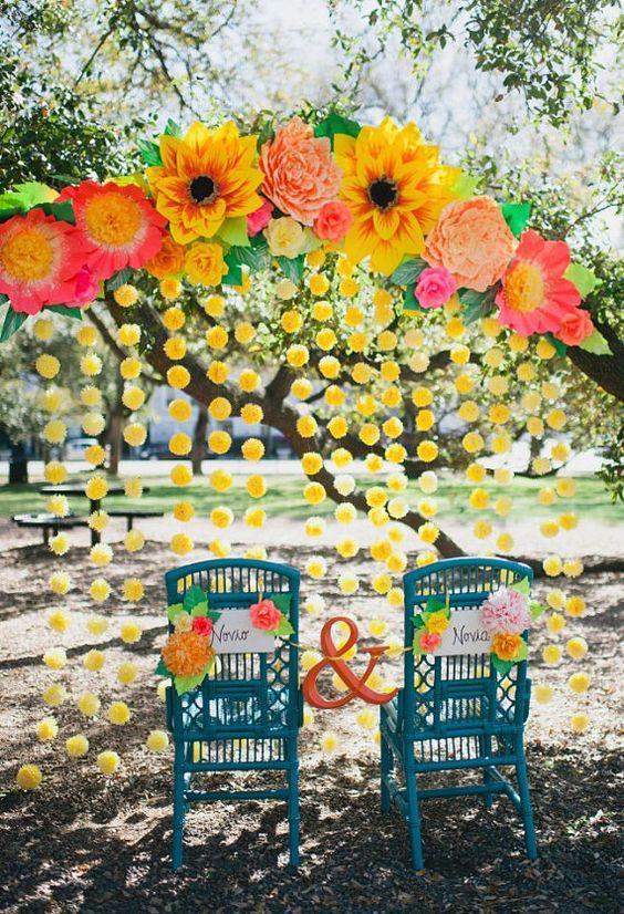 arche de mariage mur de fleurs jaunes mariage mexicain
