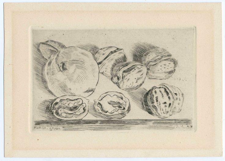 MITROKHIN Dmitry,  Apple and Nuts. Fruits,  1951, Paper, burin engraving on metal,  150х210 (102х160).