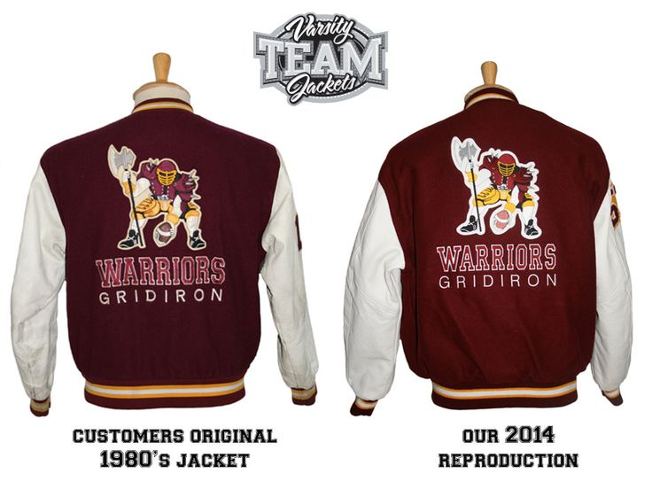 Before and after photo.  Custom order for Warriors Gridiron to produce a replica from an original 1980's jacket.  Custom wool and leather varsity jacket back with chenille patches and embroidery by Team Varsity Jackets. www.teamjackets.net www.facebook.com/TeamVarsityJackets