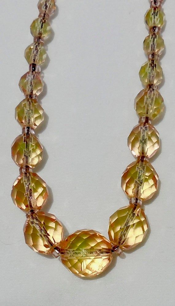 RARE FIND Art Nouveau Hand Faceted Pink Crystal Bead Necklace