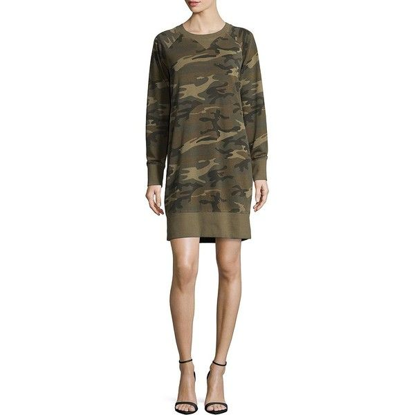 Alternative Women's Camo Sweater Dress ($48) ❤ liked on Polyvore featuring dresses, camo, brown dresses, camouflage dresses, brown sweater dress, camo print dress and longsleeve dress