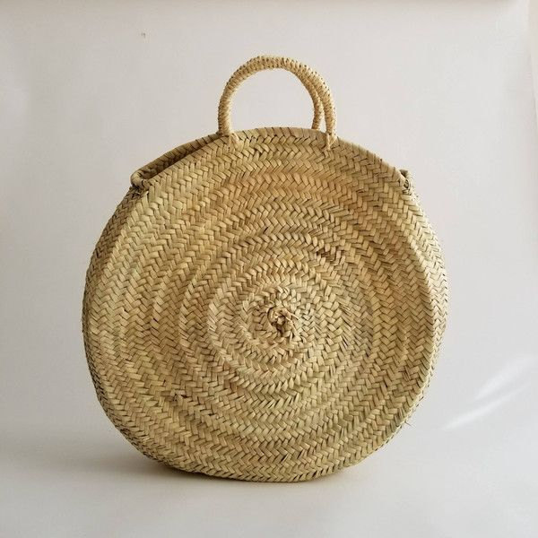 Handmade Round Straw Bag Round basket, Summer Tote, Round French... ($29) ❤ liked on Polyvore featuring bags, handbags, tote bags, beach bag tote, beach tote bags, summer tote bags, woven beach bag and handbags totes