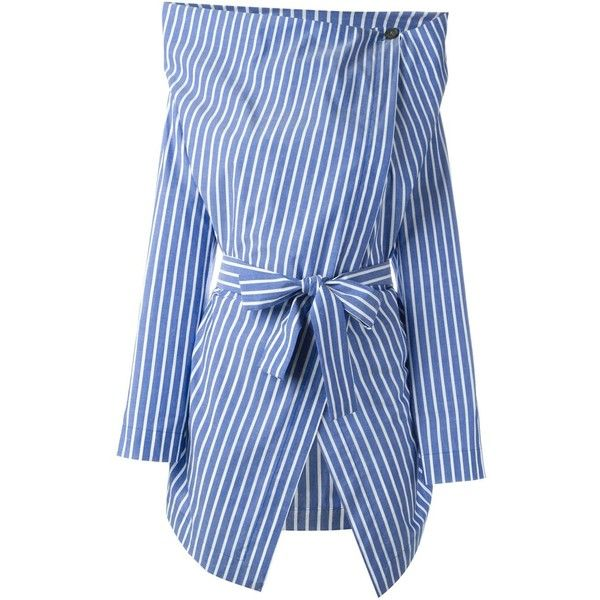 Vivienne Westwood Anglomania  Belted Structured Shirt ($395) ❤ liked on Polyvore featuring tops, blue, blue top, vivienne westwood anglomania, blue shirt, belted top and belted shirt