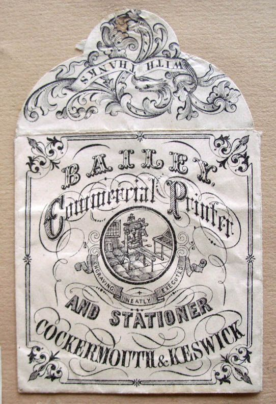 """A small collection of """"change pockets,"""" small printed envelopes from the 19th that shopkeepers in London used to give change in to their customers."""