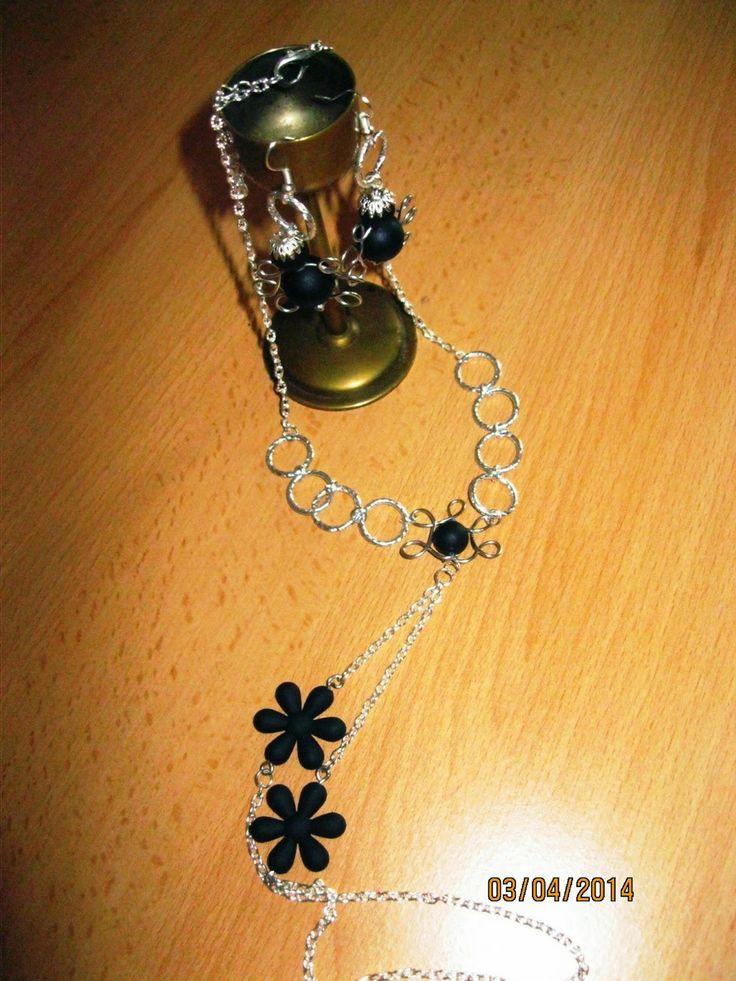 Bijuterii Handmade by Lacry: Set , model 0036, compus din colier lungime 40 cm ...