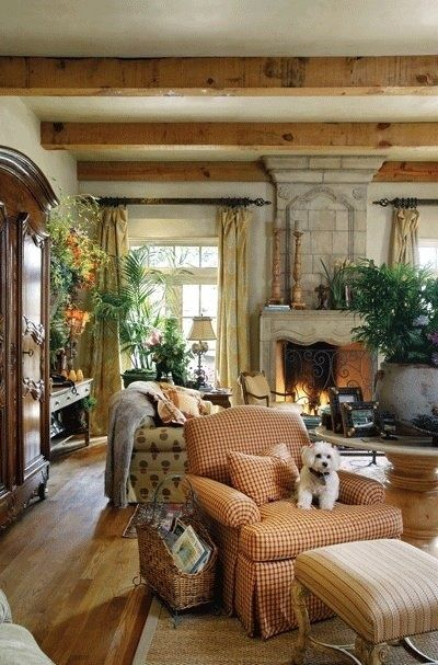 French Country Living Room- ceiling beams, raw wood, rustic/old-world, strong colors