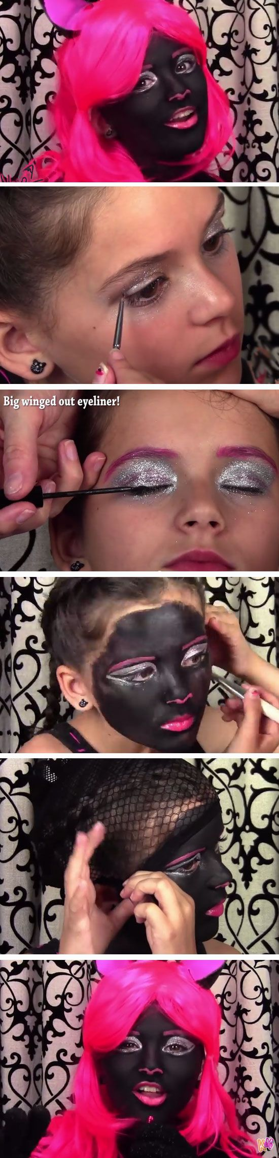 Monster High Catty Noir | DIY Face Painting Ideas for Kids | Easy Halloween Makeup Ideas for Kids
