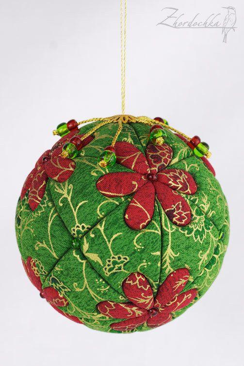 Купить Новогодний лоскутный шар - зелёный, новогодний подарок, новогодний декор, новогодний сувенир