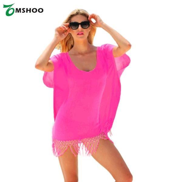 Women Chiffon Swimwear Cover Up V-Neck Short Sleeve Loose Beach Dress Swimsuit Rose