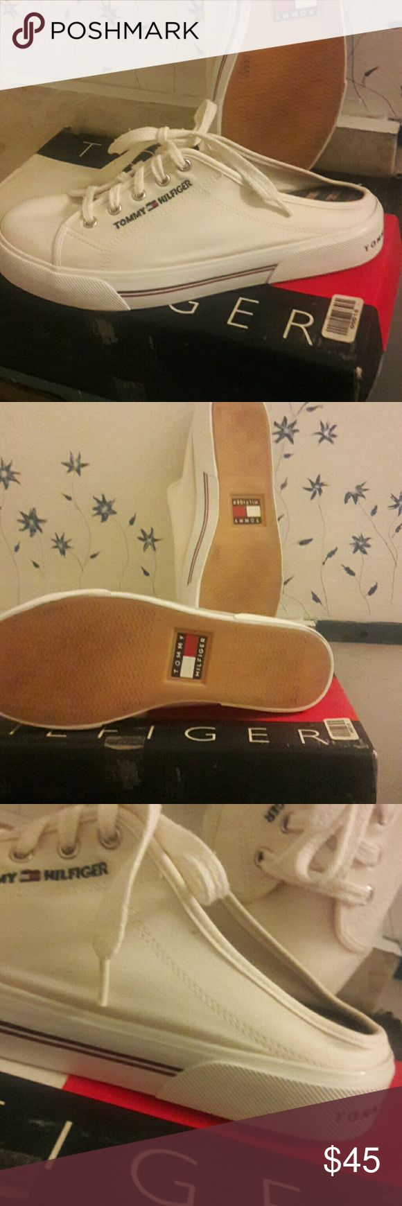 Vintage 1990s Tommy Hilfiger new mule  shoe White tennis shoe old but new 1990s but never worn..embroidered TH Logo on shoe and a slight platform ..these shoes are in excellent condition please see pics size womans 9, these are a highly saught  after shoe..and in this condition unbelievable... Tommy Hilfiger Shoes Mules & Clogs