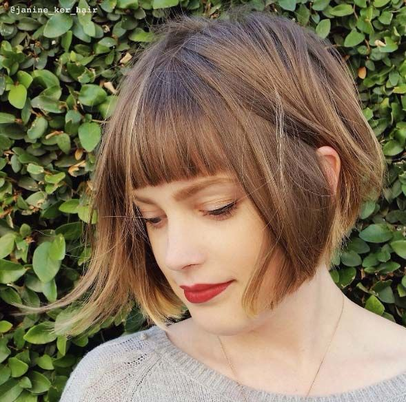 Share Tweet Pin Mail Although not everyone can pull off a short bob with bangs, they look so cute that you might as well ...