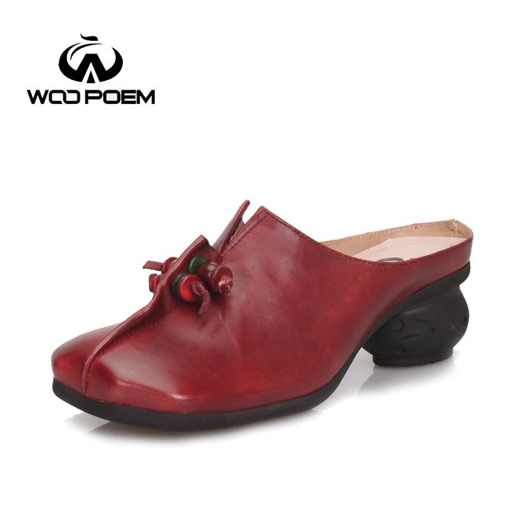 WooPoem Summer Shoes Women Cow Leather Slippers Casual Med Heel Wedges Sandals Retro Genuine Leather Lady Slippers 518-81