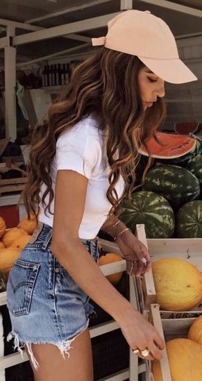 3b874368f512 casual outfit + jean shorts + white top    summer  outfits  style