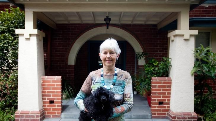 Patricia Stallwood and Lilli outside their Camberwell home, which will go to auction on March 28.