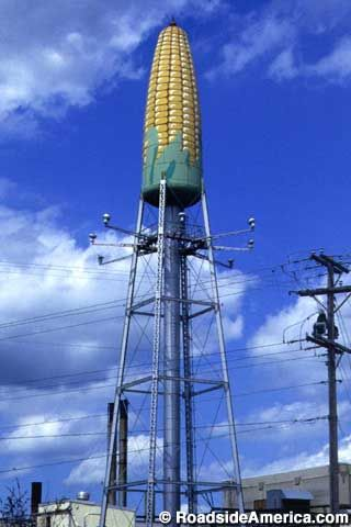 Corn on the cob water tower, Rochester, Minnesota. This was built for the Libby vegetable canning plant 1960's or earlier. dv