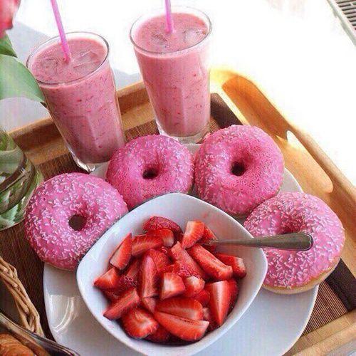 grafika donuts, food, and strawberry