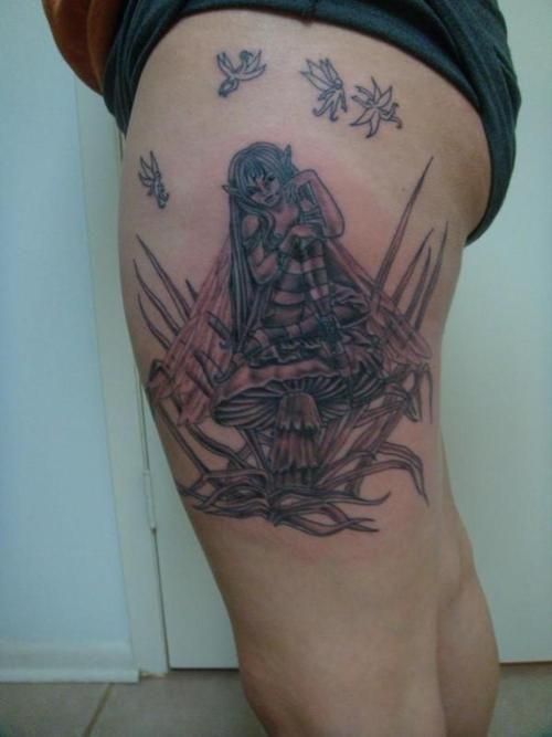 Mushroom fairy tattoo