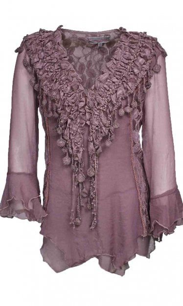 Pretty Angel Clothing Ruffle And Lace Blouse In Mauve at Styles2you.com