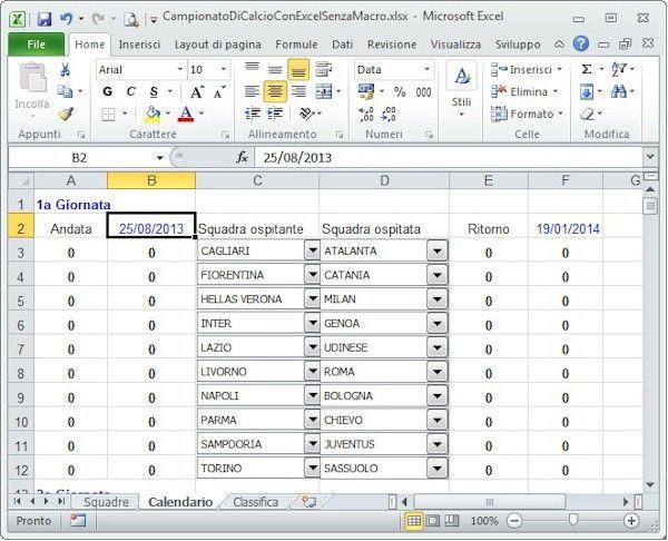 Gestire il campionato di calcio con Excel  Vediamo come si può gestire il campionato di calcio con Microsoft Excel. E' possibile gestire il calendario delle partite, i risultati, la classifica.