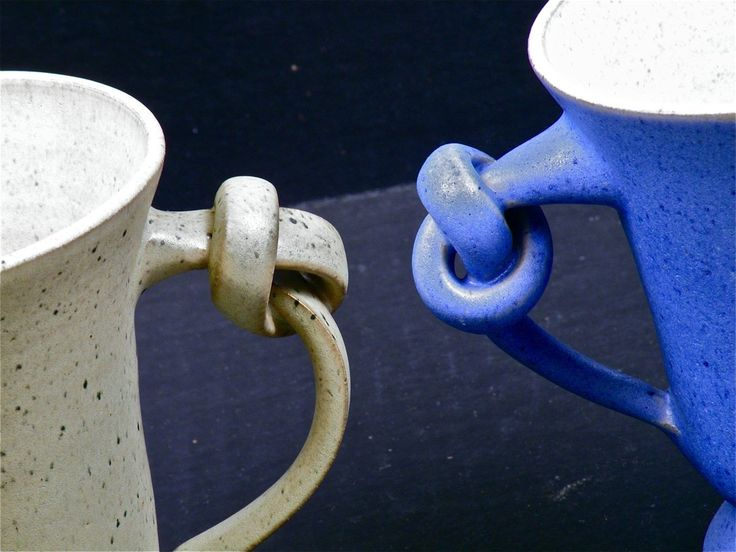 Pair of signed knotted handle pottery mugs set by for Mug handle ideas