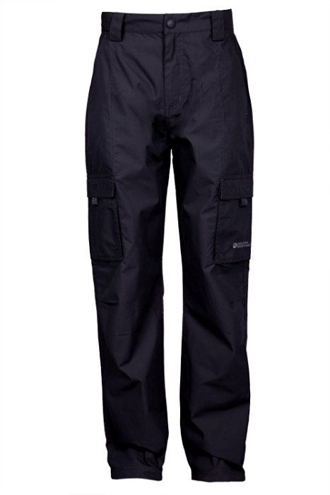Mountain Warehouse Active Kids Outdoor Walking Hiking Camping Elasticated Waist Cargo Trousers Black 11-12 years