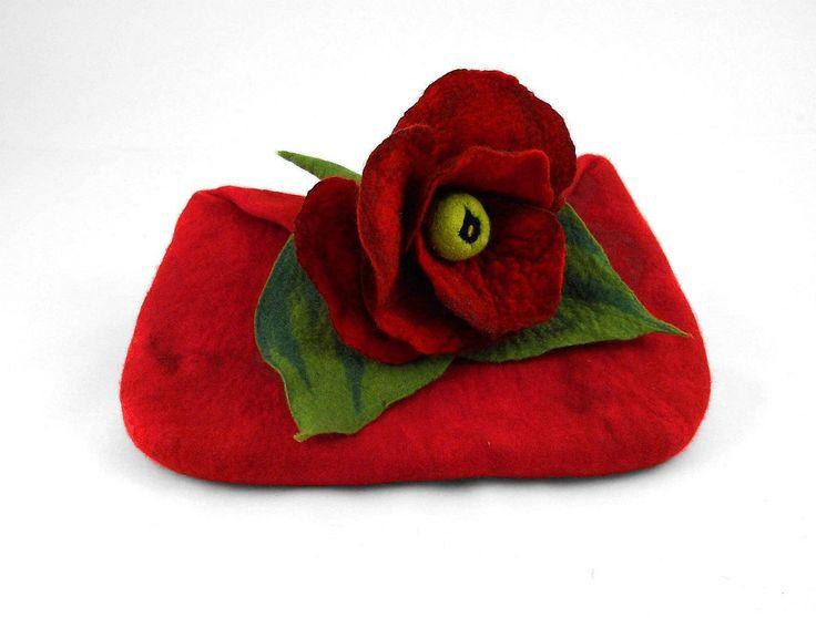 Felted Clutch Bag Art Purse red handbag felt Nuno felt ruby fairy floral fantasy Fiber Art boho. $119.00, via Etsy.